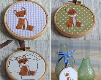 Made to Order, Fox Gift, Fox Art, Machine Embroidery, Embroidery Hoop, Fabric Gift, Home Decor, Wall Art, Woodland Nursery