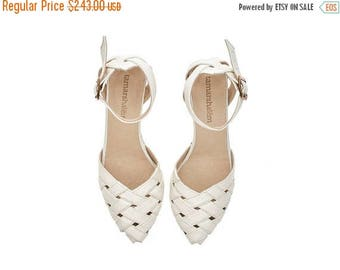 ON SALE Brides shoes, Milk white Heeled Sandals, Rose, leather shoes