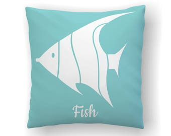 Angel Fish Pillow, Nautical Pillows, Nautical Nursery Decor, Under The Sea, Coastal Pillow Cover, Nursery Pillow, Beach Nursery, Ocean Theme