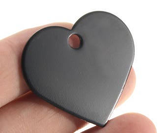 Medal heart Black Aluminum engraving stamping 33 x 37 mm id tag