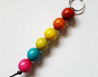 Key 6 wood beads and Rainbow sky or colors to choose from