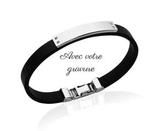 Chain bracelet plate engraved in black leather and steel clasp 21 cm with engraving