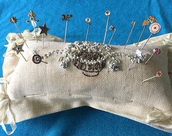 Vintage Handmade Pincushion, Bobbin Lace Bolster. Embroidered. Pins Not Included.