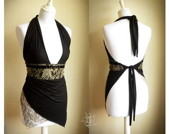 Tie on the back top. Velvet trim and metal studs detail. Black asymmetrical top with lace.  Festival pixie, romantic.
