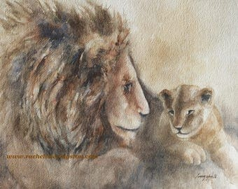 11x14 lion with cub ORIGINAL WATERCOLOR painting with blues and grays added RESERVED