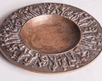 Vintage Office Decor Bronze Plate With Female Figures