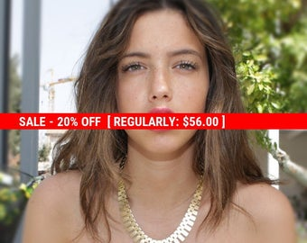 SALE 20% OFF Gold necklace, statement necklace, gold link necklace, evening jewelry, chain necklace - 4405