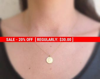 SALE 20% OFF gold coin necklace, women coin jewelry, sideway coin, 14k gold filled,gift for her,dainty necklace,gold necklace,gold disc