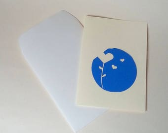 "The card ""Heart in bloom"" blue with envelope"