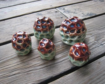 Red and Turquoise Coral Sculptures - Tiny Ceramic Sculptures - Aquarium Decorations - Reptile Tank Decor - Ceramic Garden Sculptures