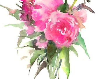 Pink Peonies, original floral pink art, bright pink wall painting 12 x 9 in