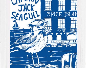Captain Jack seagull, art print, signed, mounted