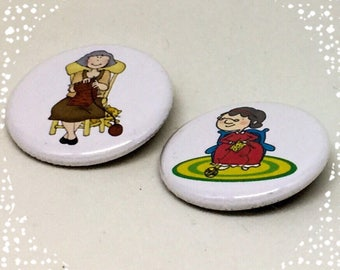 Knitting Ladies  - Set of Two Pinback Button Badge 1.25 inch Flair Magnet