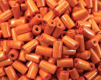 Tangerine Orange Wood Tube Beads Satin Varnished Plain Simple Round Smooth Ball Wooden Bead Spacers 8mm Choose 50pcs, 200pcs or 400pcs