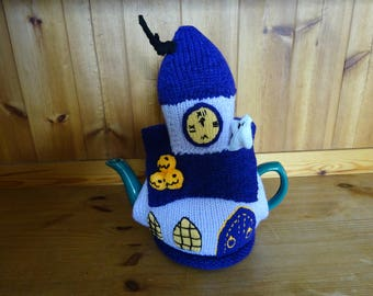 Knitted Tea cosy cosie Haunted Church Clock Tower with Ghosts and Pumpkins Shabby Chic