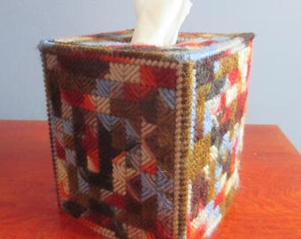 U PICK VARIEGATED COLOR ~Plastic Canvas Tissue Box Cover - Variegated Checkerboard