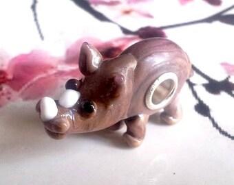 1 handmade lampwork bead, rhino
