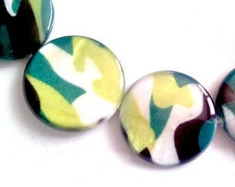 Set of 10 beads in mother-of-Pearl, camouflage print