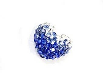 LAST PIECE! 1 bead disco white to blue gradient heart night rhinestone Crystal and polymer 17x13mm