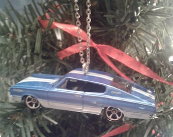 Hot Wheels Christmas Ornament 1967 Dodge Charger Blue and White Mopar Tree Decoration Classic Car 1960's Gift For Him