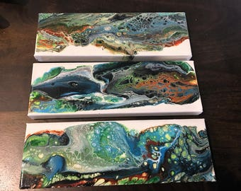 Acrylic Pour Painting  Set of 3