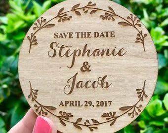 Laurel Wreath Save-the-Date Magnets, Wedding Save the Date Magnet, Wooden Save the Date Magnet, Rustic Save the Date, Rustic Wedding Invite