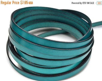 """ON SALE 10mm Flat Leather  - Teal - 1M/39.4"""" - High Quality Leather Cord - Made in Eu"""