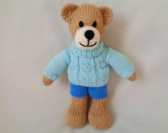 Teddy, Hand Knitted Bear, Teddy Bear, Handmade Bear, Teddy Bear in Cable Sweater , Soft Toy, Baby Gift, Child Gift