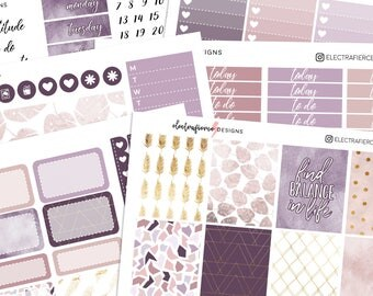 Balance - Planner sticker kit for Erin Condren | geometric feathers leaves gold