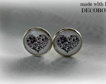 CŒUR black cabochon clip earrings