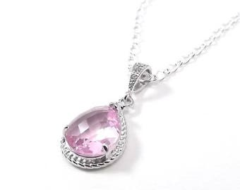 END Of SUMMER SALE Pink Glass Pendant Sterling Silver Necklace