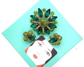Starburst or Flower Demi Parure, Green Rhinestone Set, Brooch and Earrings, Olivine and Emerald Green Stones, Antiqued Gold Tone, 1960s