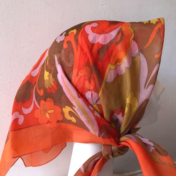 1960s chiffon scarf square brown psychedelic jazzy nylon 1950s rockabilly headscarf turban scooter girl Mod Twiggy chiffon orange pink