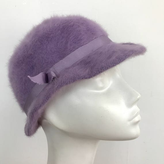 Vintage hat lilac angora bucket hat 1960s style Kangol style fluffy cloche Merida look