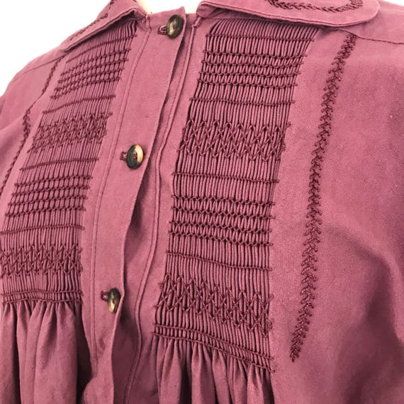 Vintage smock cotton dress plum red twill hand smocking  A line loose dress purple tone smocked LARP steampunk historical pilgrim medieval M