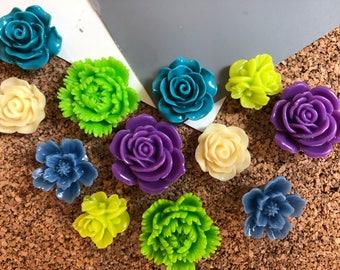Flower Thumbtacks, 12 Blue, Green, Plum, Ivory Push Pins, Bulletin Board Tacks, Dorm Room Decor, Stocking Stuffer, Housewarming Gift