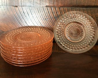 "Set of 9 Pink Hobnail Saucers 6"" Depression Glass Plates 1930s"