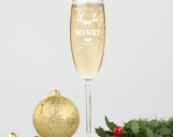 Christmas Engraved Champagne Glasses