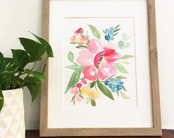 Bright pink watercolor floral | Original watercolor painting | One of a kind | Only one available | 8x10