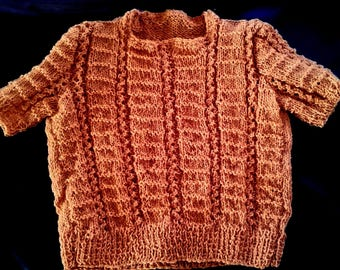 handmade knit-brown red baby sweater - knitting-lili