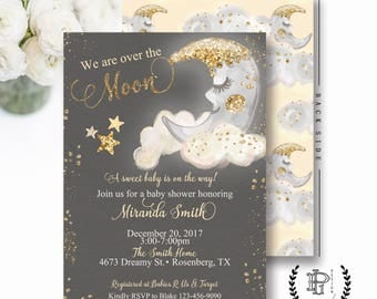 Over The Moon Baby Shower Invitation And Stars InviteYellow