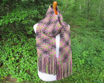 Crochet Scarf, Planned Pooling Argyle Scarf, Crochet Argyle Scarf, Crochet Plaid Scarf by CROriginals
