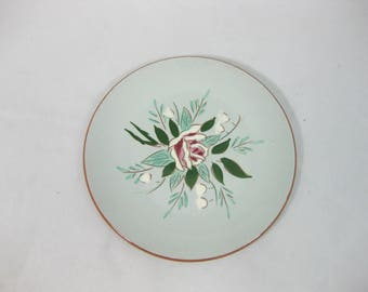 Stangl Pottery Plate Bella Rosa,  Pottery Bread Plate, Dessert Plate, Stangl Pottery Bread Plate, Hand Painted Hand Carved