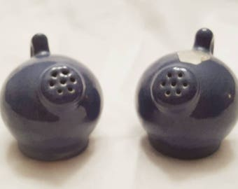 Rare Vintage Niloak Cannonball Jug Salt and Pepper Shakers Blue