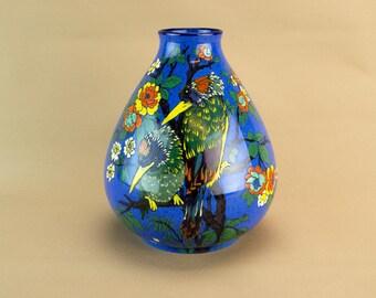 Colourful Blue Art Deco Flower Vase Birds Vintage English 1930s Adderleys