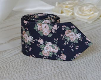 Floral Tie   Navy Blue with Blush Flowers Men's skinny tie   Wedding Ties  Cotton Navy Blue Floral   Necktie for Men FREE GIFT