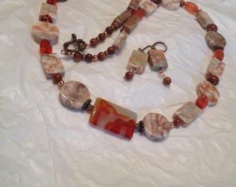 Redline marble copper, orange Necklace set