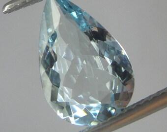 2.4 Carat 13x8.4x4.3 MM Natural Faceted Aquamarine Pear Shape, Aquamarine March Birthstone, Blue Color Aquamarine Loose Gemstones