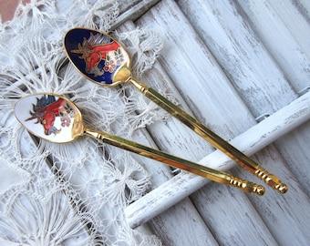 Vintage Teaspoons  Decorative Teaspoon Dragon Gold Tone Teaspoon - set of 2.
