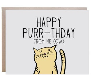 Cat Birthday Card, Happy Birthday Card, From the Cat